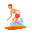 guy riding waves male surfer character with vector image vector image