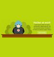 hacker at work banner horizontal concept vector image
