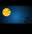 halloween bat moon cross pumpkin vector image