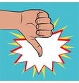 Hand sign thumbs down pop art color back vector image vector image