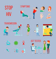 hiv infection aids icon set vector image vector image