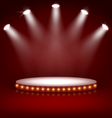 Illuminated Festive Stage Podium with Lamps on Red vector image vector image