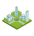 isometric residential quarter white vector image