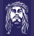 jesus christ son god in a crown thorns vector image vector image