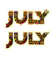 july word decorated with flowers and leaves vector image vector image