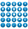 map pointer icons set blue simple style vector image vector image