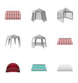 metal gazebo icons set isometric style vector image