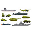 military transport army vehicles war equipment vector image