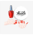 nail art and red nail polish beautiful female vector image vector image