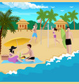 people on beach background vector image vector image