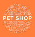 pet shop circle banner with flat line icons vector image vector image