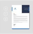 professional blue letterhead graphic template vector image vector image