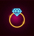 ring with diamond neon sign vector image vector image