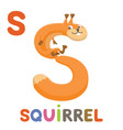 s is for squirrel letter s squirrel cute animal vector image vector image