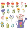 set isolated flower vector image vector image
