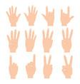 set of hands differents gestures vector image vector image