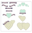 Set of red ribbons hearts and logos in vintage vector image vector image