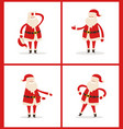 set santa clauses in different pose icon vector image