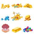 set treasure gold coins rock gold nugget bars vector image vector image