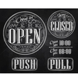 Set vintage open closed chalk vector image vector image