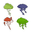 storm cloud icon set color outline style vector image vector image