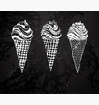 three ice cream chalk drawing vector image