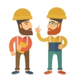 Two workers talking vector image