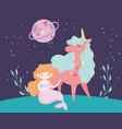 unicorn and mermair princess planet sky landscape vector image vector image