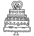 wedding cake icon doddle hand drawn or black vector image