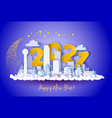 winter snow urban landscape city happy new year vector image vector image