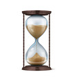 wooden hourglass realistic sand clock 3d vector image vector image