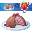 zucotto dessert with berries icon cartoon vector image vector image