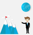 Flag on mountain success and goal business vector image