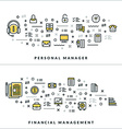 Thin Line Personal Manager and Financial vector image