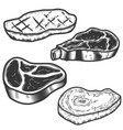 set of raw meat and grilled meat isolated on vector image