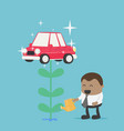 african businessman who is watering flowers vector image