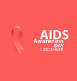 aids awareness day with red silky ribbon vector image vector image