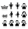 Angel devil man and woman icon set vector image vector image