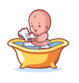 Baby bathing in yellow bath with foam vector image