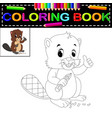 beaver coloring book vector image