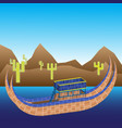 boat of titicaca lake mountains and cacti vector image vector image