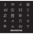 branding editable line icons set on black vector image vector image