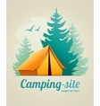 Camping with tent in forest vector image vector image