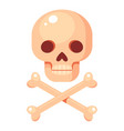 cartoon human skull and crossed bones vector image