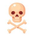 cartoon human skull and crossed bones vector image vector image