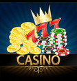casino realistic chips and coins with a crown vector image vector image
