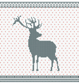 Christmas Knitted background with deer vector image vector image