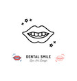 dental smile logo lips and teeth line icon teeth vector image vector image