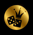 dice and crown black silhouette gambling vector image vector image