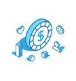 dollar coin isometric line digital vector image
